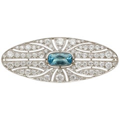 1910s Antique 2.79 Carat Aquamarine 4.96 Carat Diamond White Gold Brooch