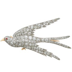 Antique 3.34 Carat Diamond Ruby and Gold Swallow Brooch