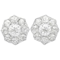 1910s Antique 3.37 Carat Diamond and Yellow Gold Cluster Earrings