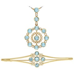 1910s Antique 4.42 Carat Aquamarine and Pearl Yellow Gold Pendant and Brooch Set