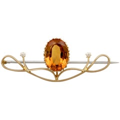 1910s Antique 8.83 Carat Citrine and Diamond, Yellow Gold Brooch