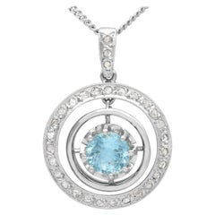 1910s Antique Aquamarine Diamond and 9k Yellow Gold Necklace
