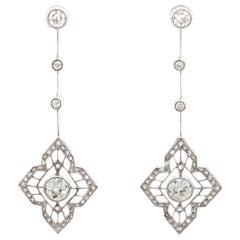 1910s Antique Art Deco 1.93 Carat Diamond Platinum Earrings
