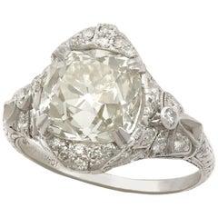 1910s Antique Art Deco 5.39 Carat Diamond and Platinum Cocktail Ring