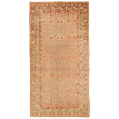 1910s Antique Central Asian Rug Khotan Style with Rust and Beige Nature Details