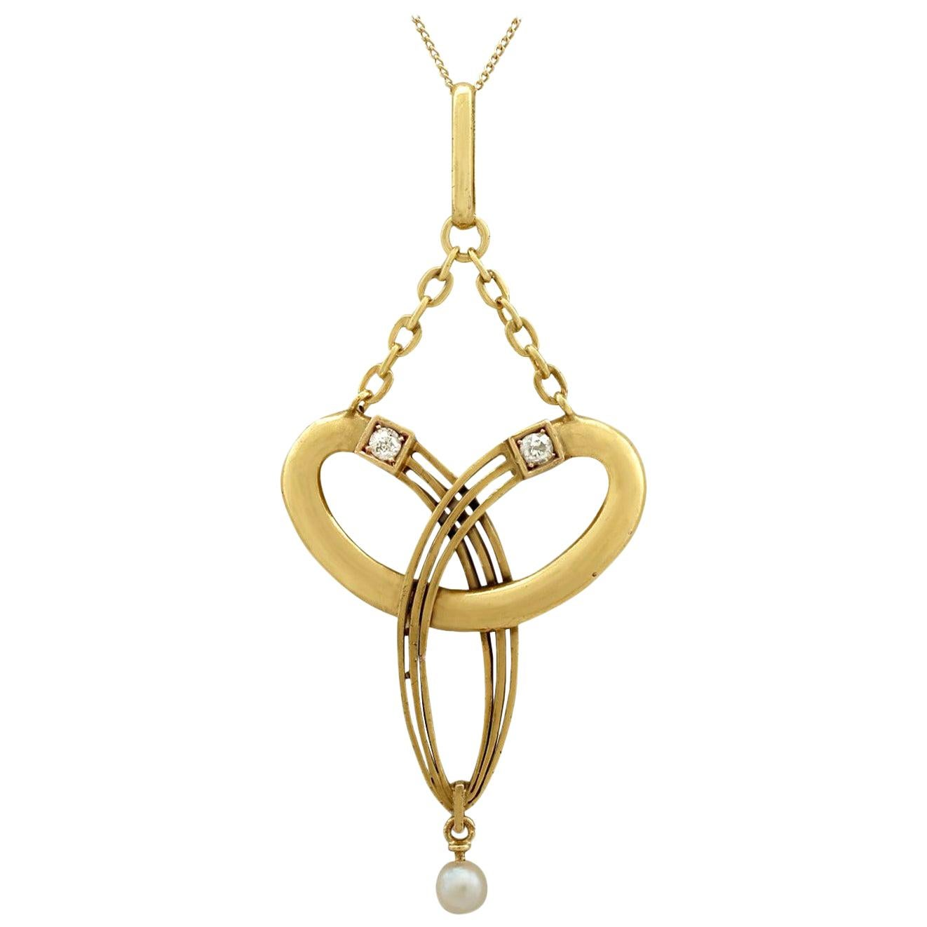 1910s Antique Diamond and Seed Pearl Yellow Gold Pendant