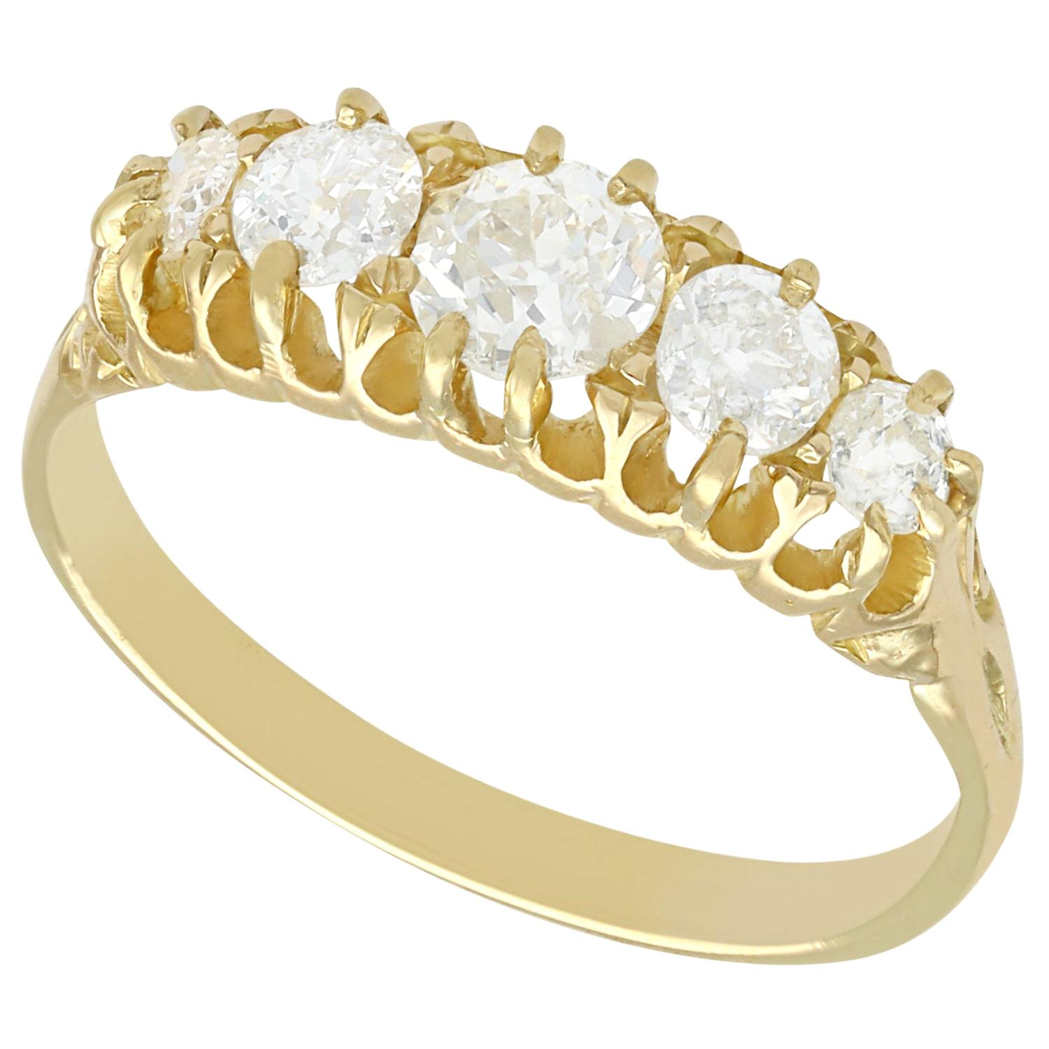1910s Antique Diamond and Yellow Gold Five-Stone Ring