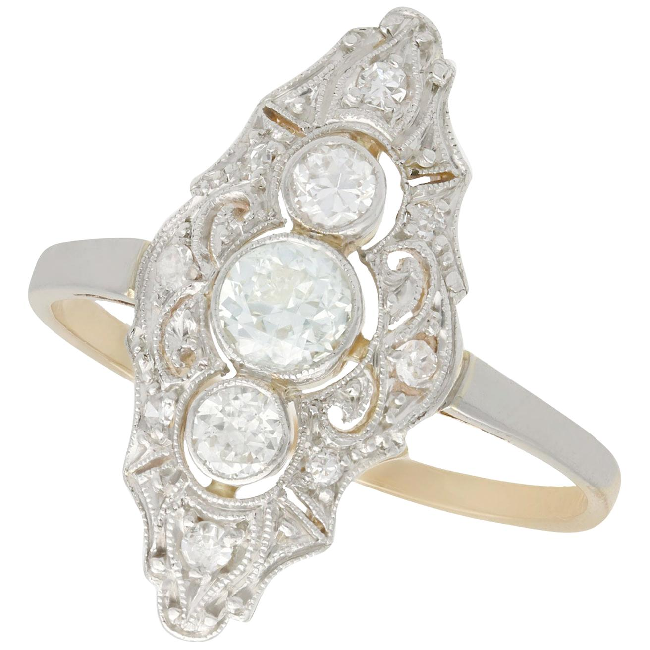 1910s Antique Diamond and Yellow Gold Marquise Ring