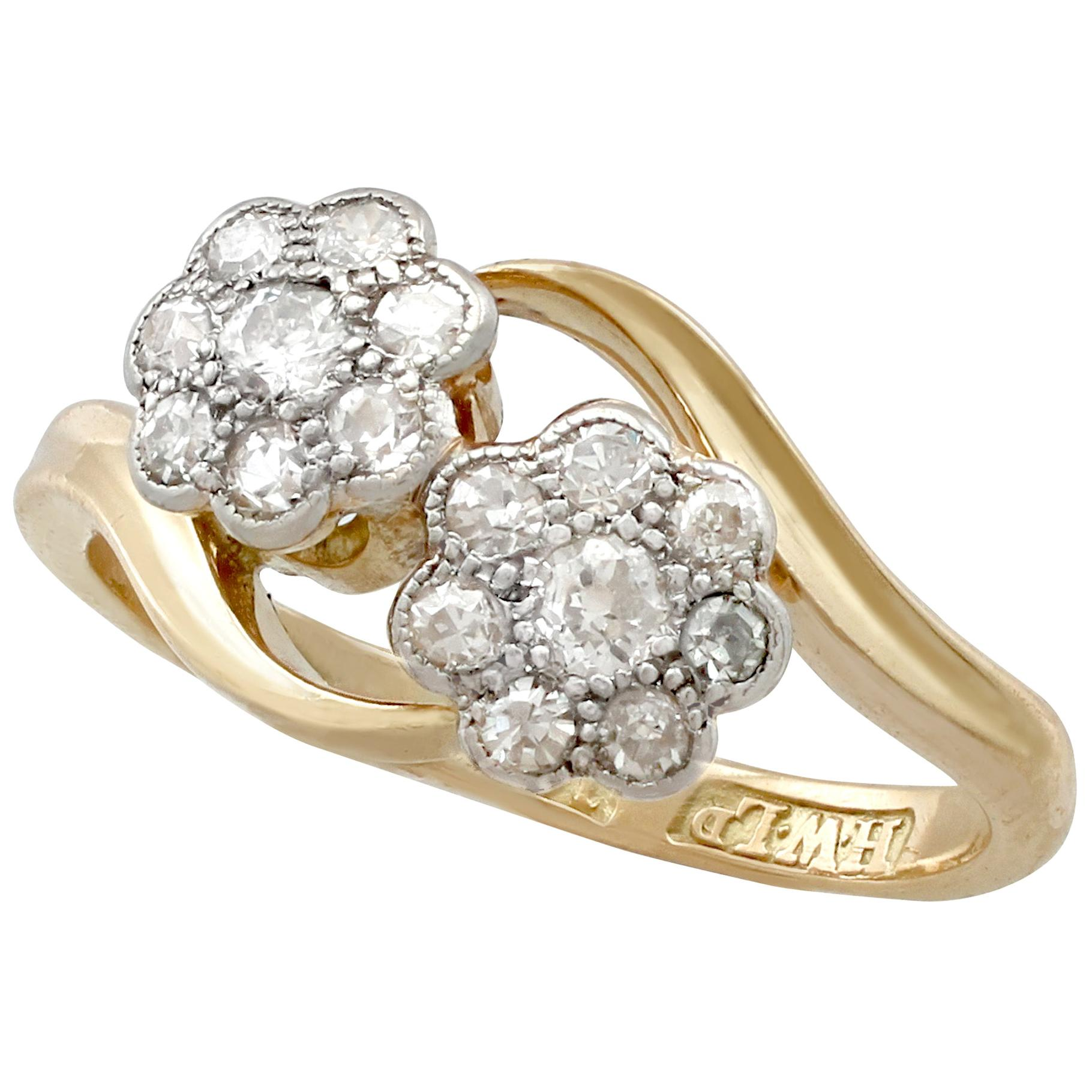 1910s Antique Diamond and Yellow Gold Twist Ring