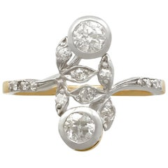 1910s Antique Diamond and Yellow Gold Silver Set Cocktail Ring