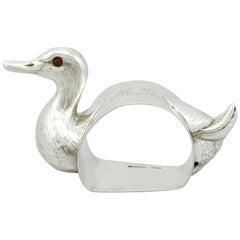 1910s Antique George V Sterling Silver Duck Napkin Ring