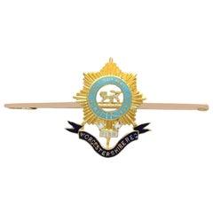 1910s Antique Gold and Enamel, Worcestershire Regiment Bar Brooch