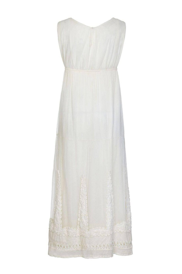 Gray 1910s Antique Ivory Tulle Wedding Dress with Knotted Tunic  For Sale