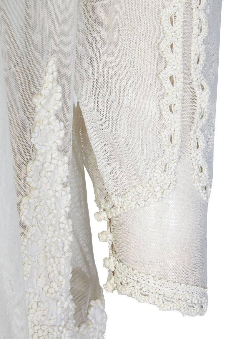 1910s Antique Ivory Tulle Wedding Dress with Knotted Tunic  For Sale 1