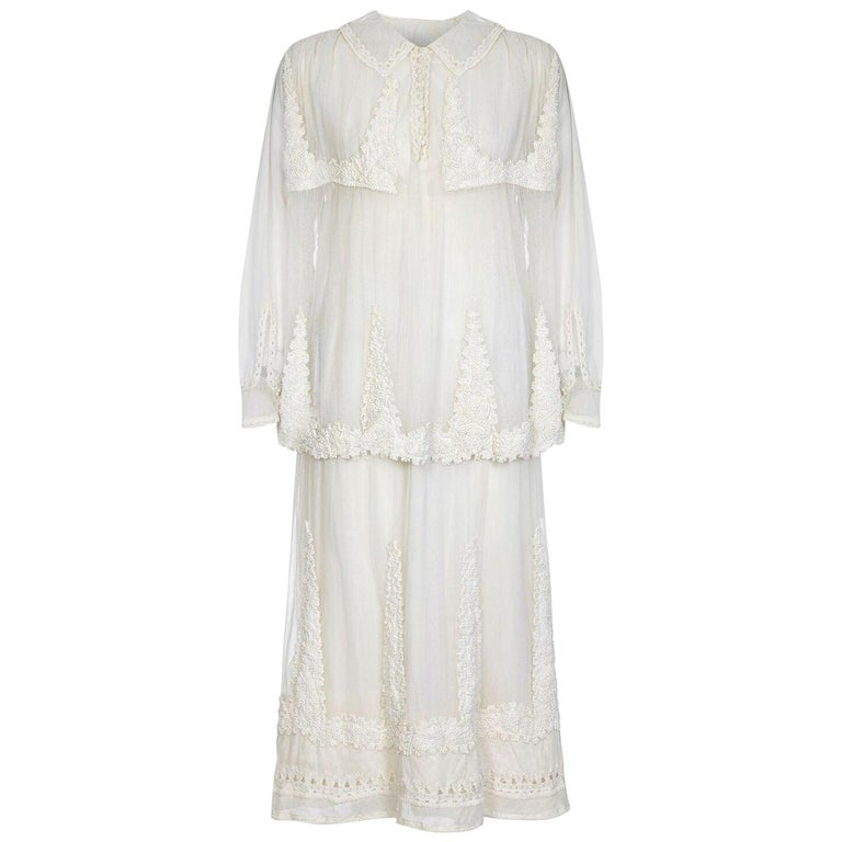 1910s Antique Ivory Tulle Wedding Dress with Knotted Tunic  For Sale