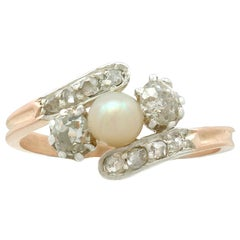 1910s Antique Pearl and Diamond Rose Gold Twist Ring