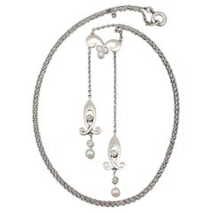 1910s Antique Pearl and Diamond Yellow Gold and Platinum Necklace