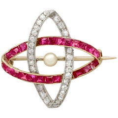 1910s Antique Pearl Ruby and Diamond Yellow Gold Brooch
