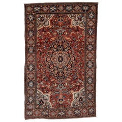 1910s Antique Persian Farahan Sarouk Rug, Red Field, Great Condition