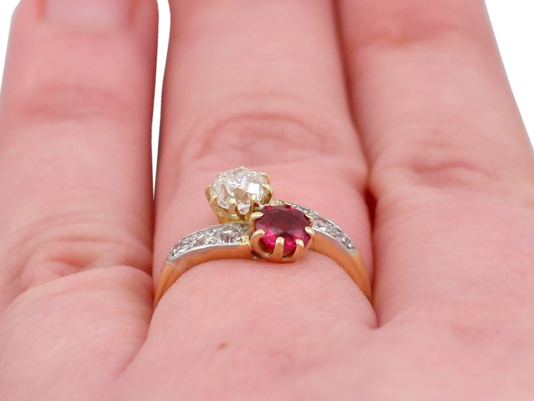1910s Antique Ruby and Diamond, Yellow Gold Twist Ring For Sale at ...