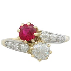 1910s Antique Ruby and Diamond, Yellow Gold Twist Ring