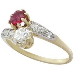 1910s Antique Ruby Diamond Yellow Gold Twist Ring