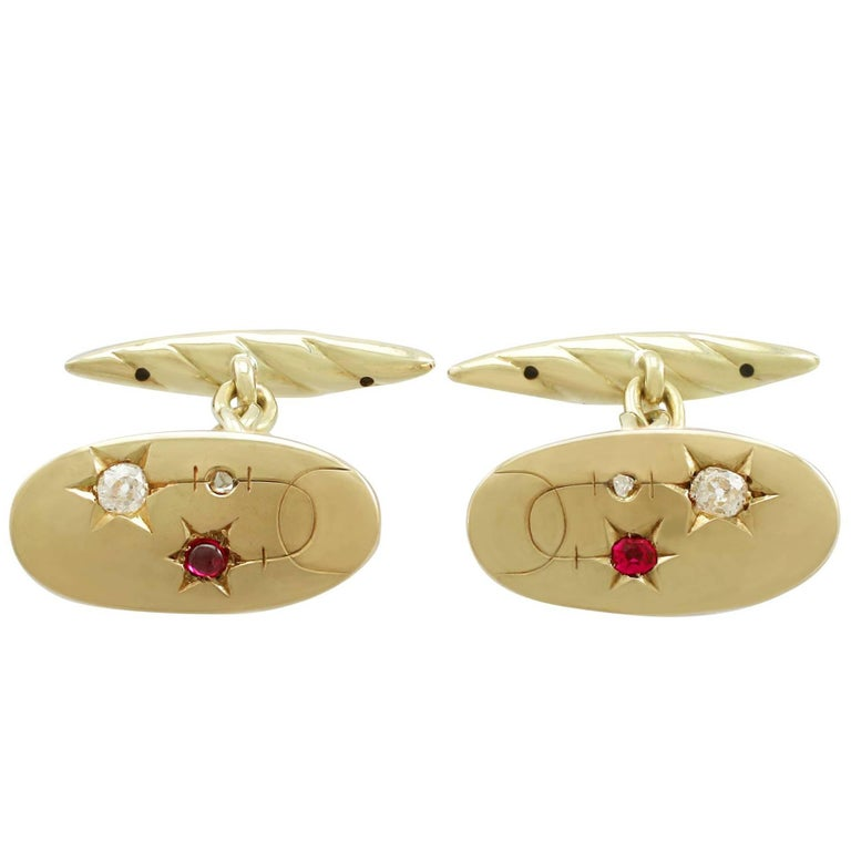 1910s Antique Ruby Emerald and Diamond Yellow Gold Cufflinks