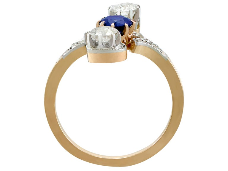 Women's 1910s Antique Sapphire and 1.21 Carat Diamond Yellow Gold Twist Ring For Sale