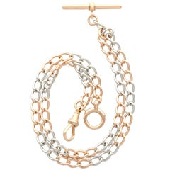 1910s Antique Yellow Gold and Platinum Double Albert Watch Chain