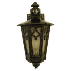 1910s Arts & Crafts Heavy Cast Iron Exterior Lantern Sconce, Single Available