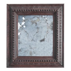 1910s Austrian Carved Wooden Mirror with Patinated Surface