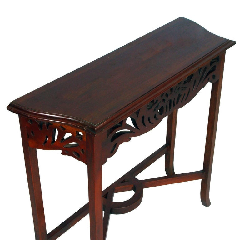 1910s Art Nouveau Console in Carved Wood,  Eugenio Quarti Style, Polished to Wax In Excellent Condition For Sale In Vigonza, Padua