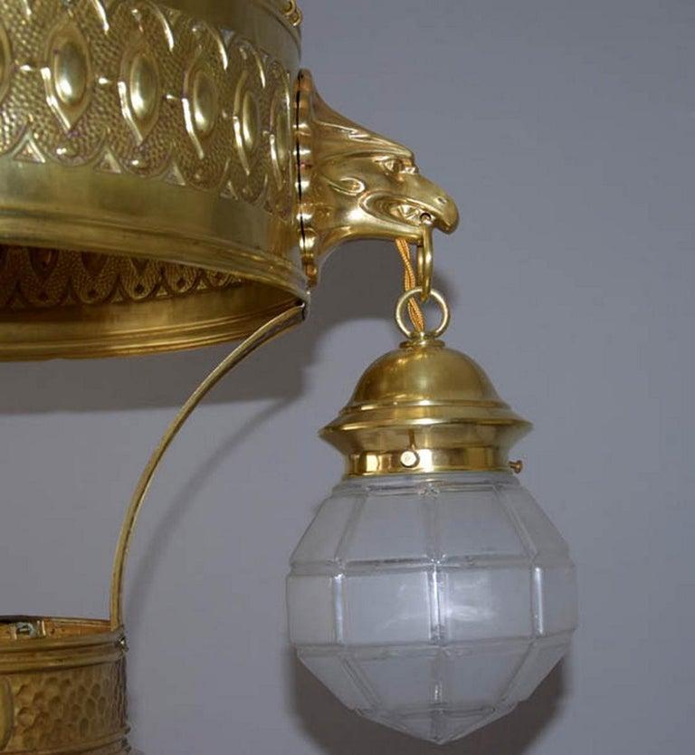 1910s Big Brass Art Nouveau Chandelier In Good Condition For Sale In Praha, CZ