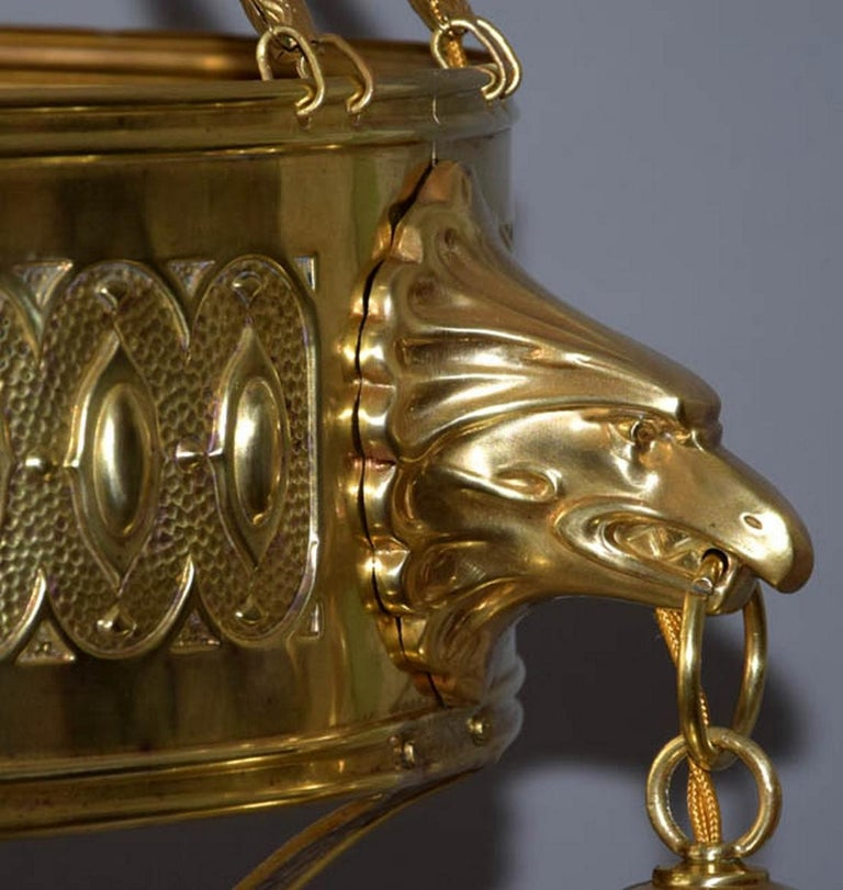 Early 20th Century 1910s Big Brass Art Nouveau Chandelier For Sale