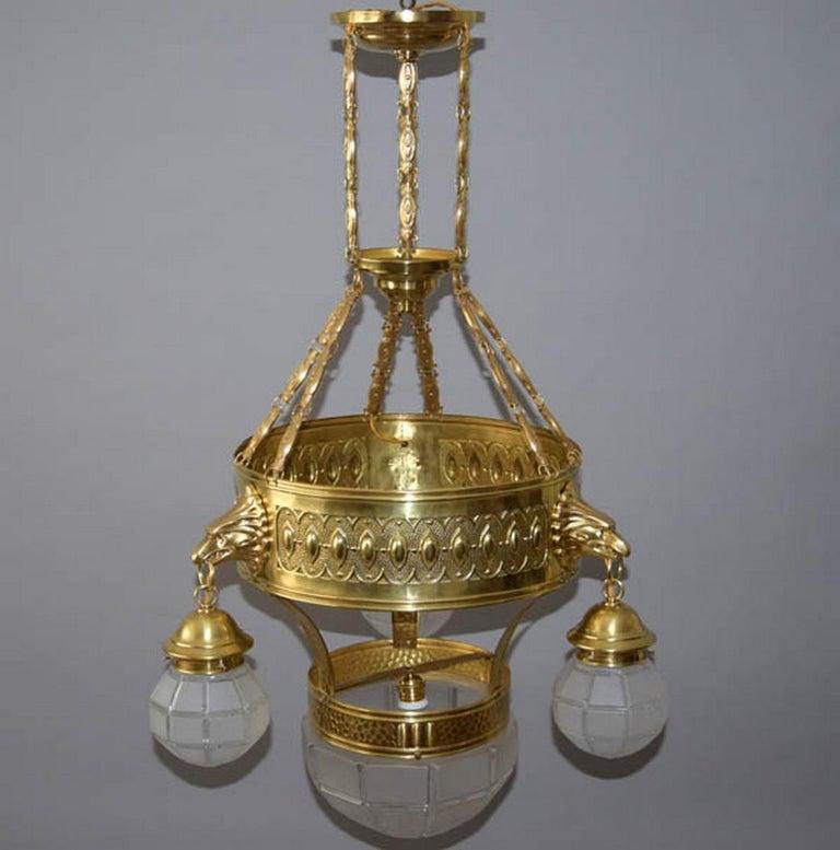 1910s Big Brass Art Nouveau Chandelier For Sale 2