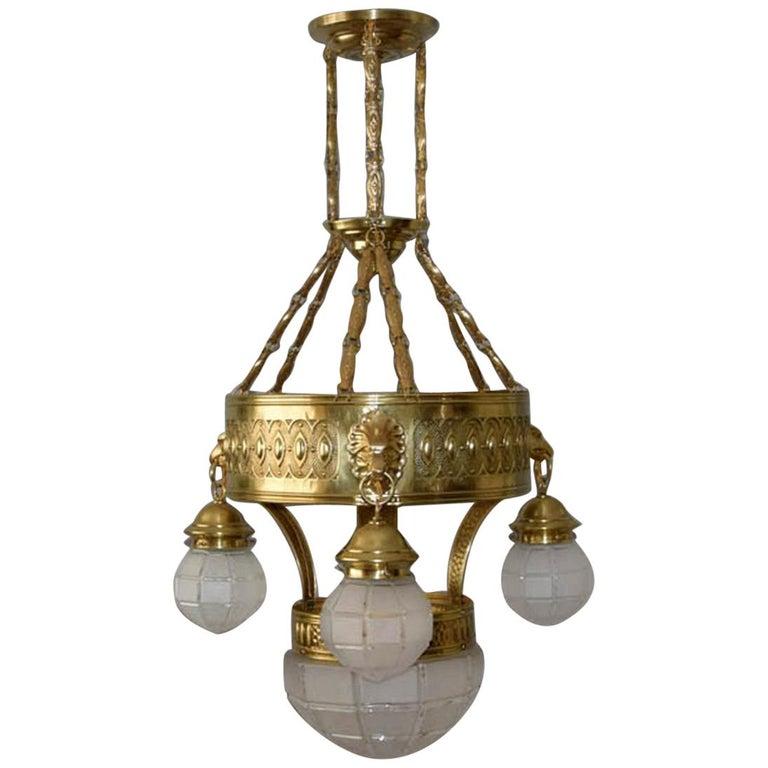 1910s Big Brass Art Nouveau Chandelier For Sale