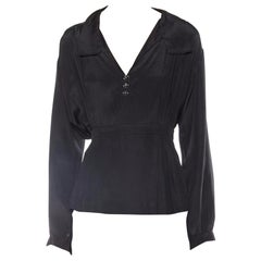 Edwardian Black Silk Long Sleeve Pleated & Belted Blouse