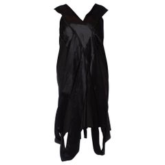 1910S Black Wool & Silk Satin Edwardian Avant Garde Dress