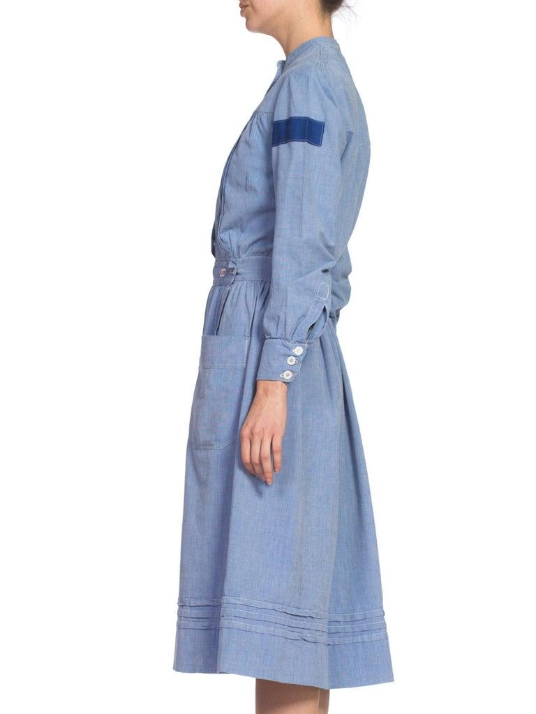 Purple 1910's Cotton War Nurse Dress For Sale