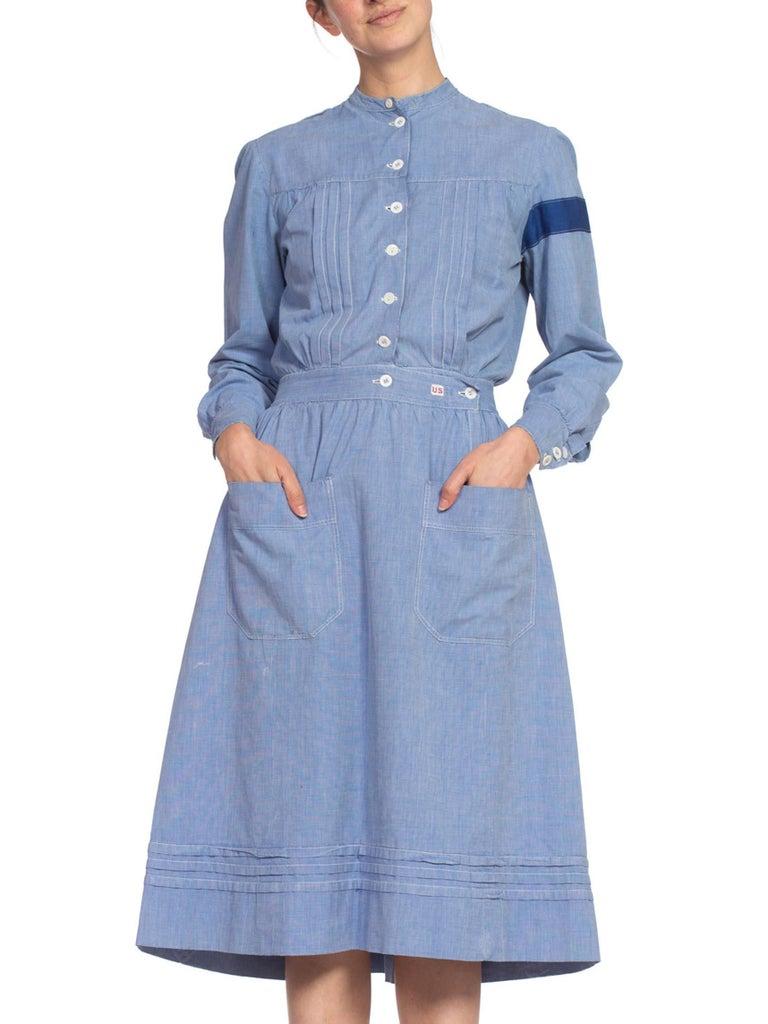Women's 1910's Cotton War Nurse Dress For Sale