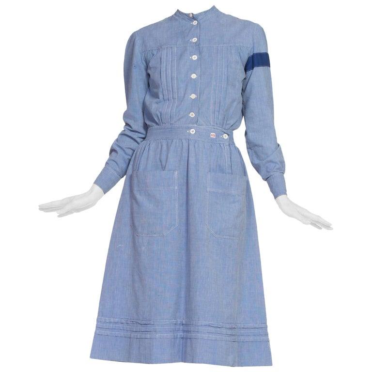 1910's Cotton War Nurse Dress For Sale