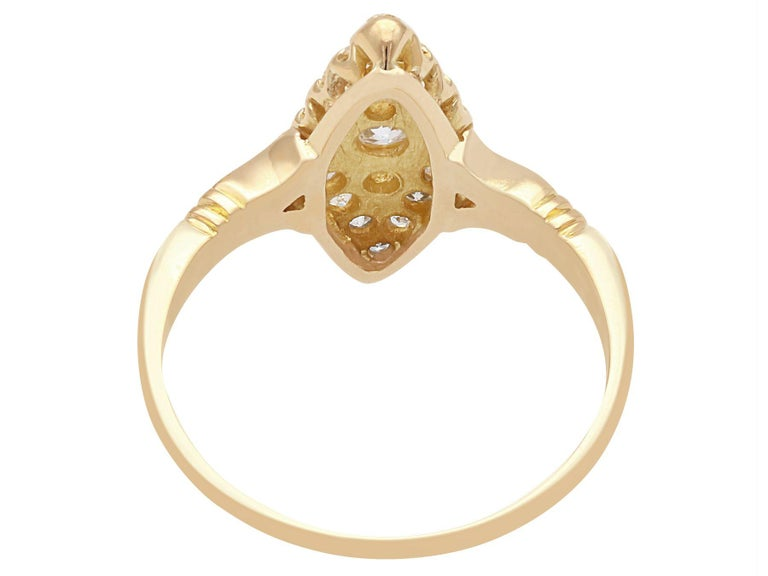 1910s Diamond and 14 Karat Yellow Gold Marquise Ring In Excellent Condition For Sale In Jesmond, Newcastle Upon Tyne