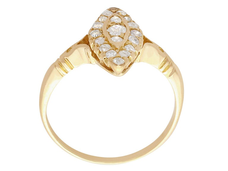 Women's 1910s Diamond and 14 Karat Yellow Gold Marquise Ring For Sale