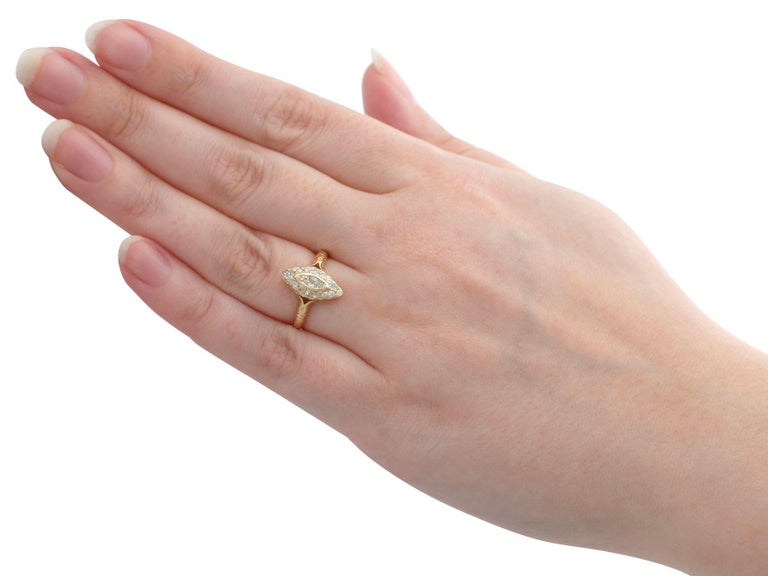 1910s Diamond and 14 Karat Yellow Gold Marquise Ring For Sale 1