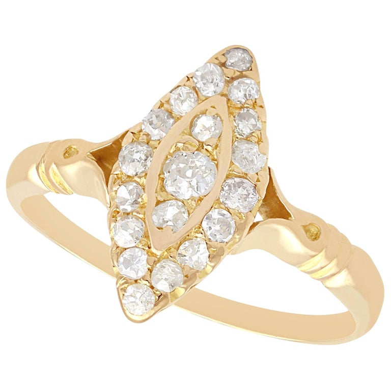 1910s Diamond and 14 Karat Yellow Gold Marquise Ring For Sale