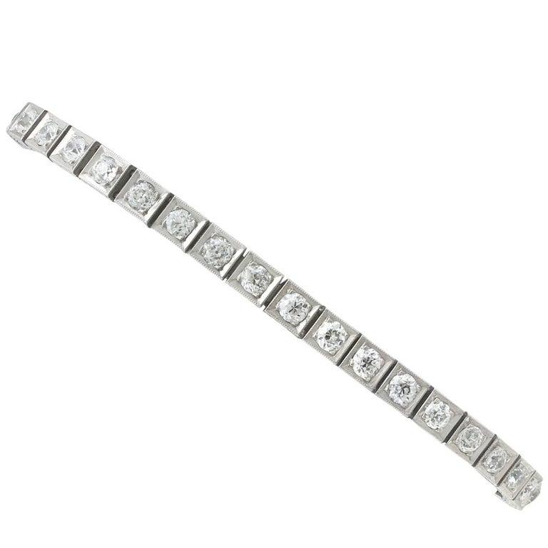 1910s Diamond and Platinum Line Bracelet