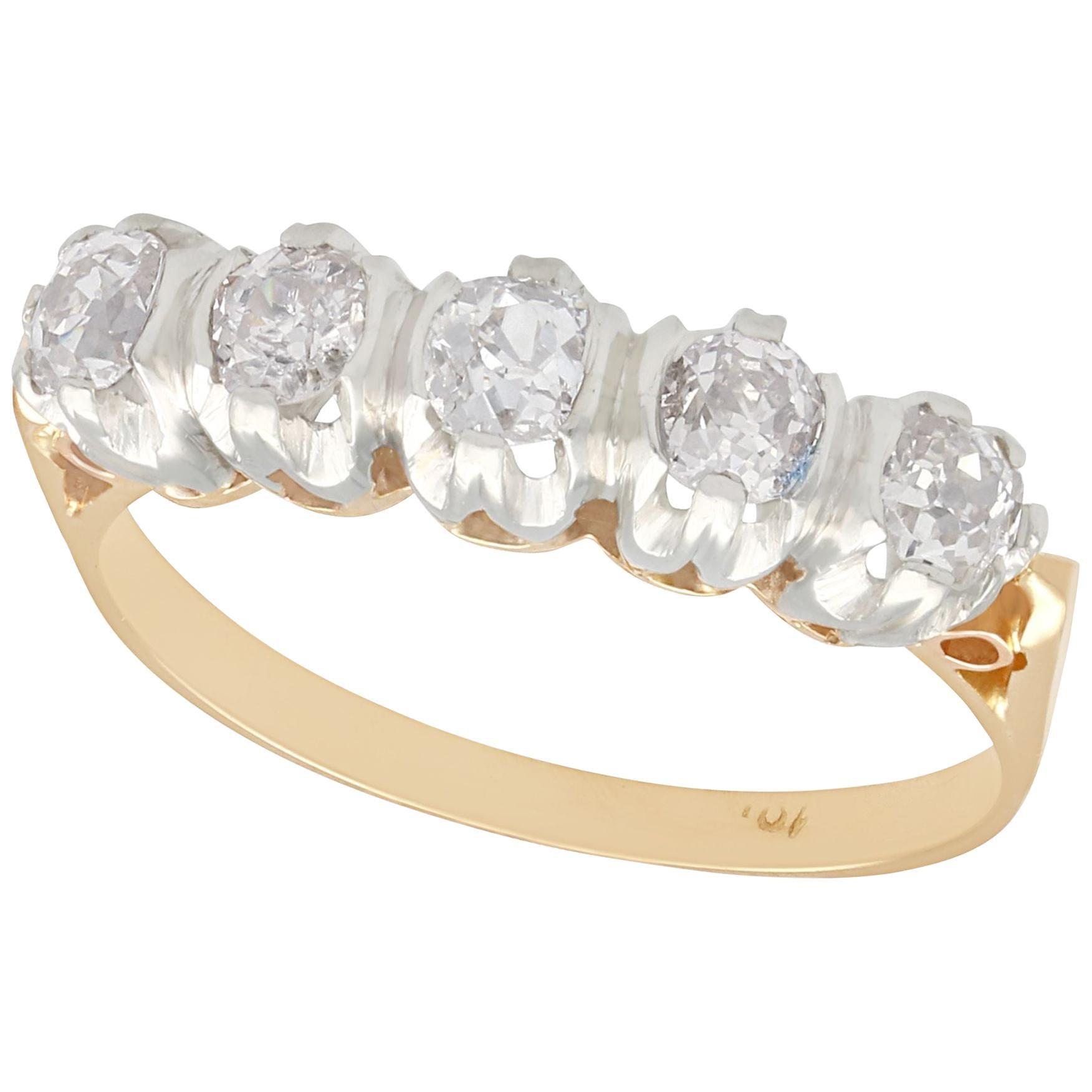 1910s Diamond Yellow Gold Five-Stone Ring