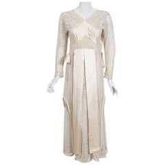 1910's Edwardian Antique Couture Ivory Mixed-Lace Draped Layered Bridal Dress