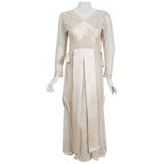 1910's Edwardian Antique Couture Ivory Mixed-Lace Draped Silk Sash Layered Dress