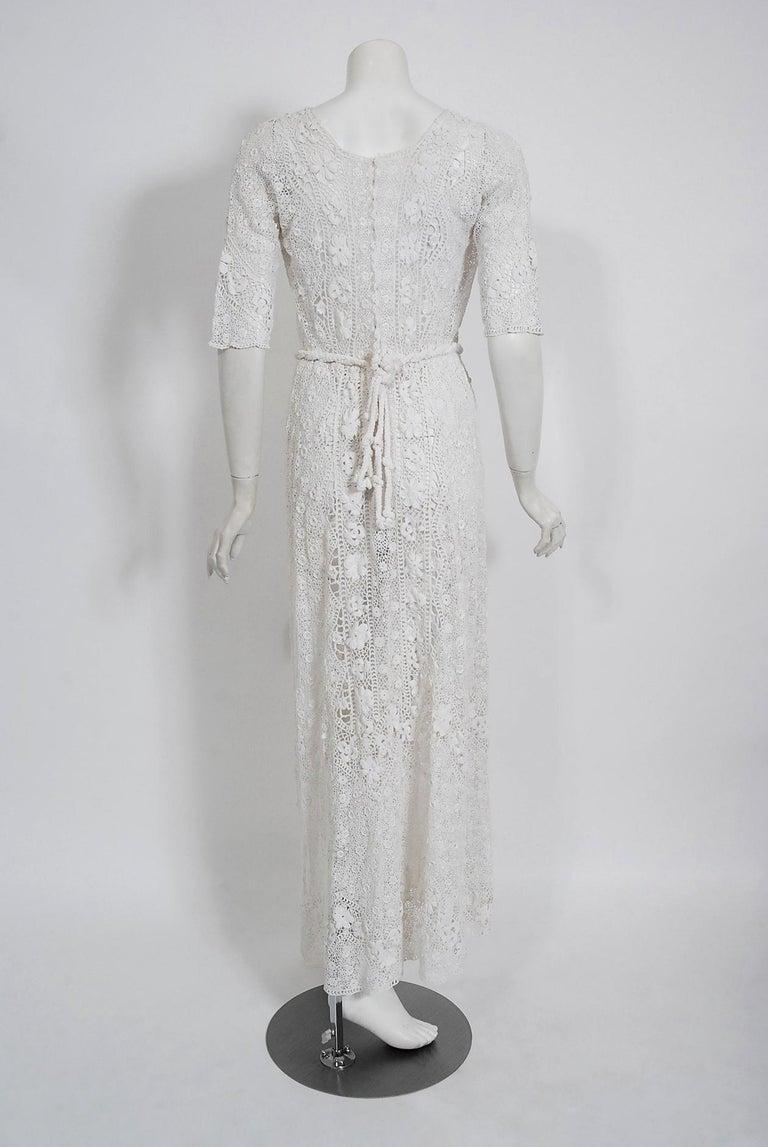 1910's Edwardian Antique Couture White Irish-Crochet Lace Handmade Tea Gown For Sale 9